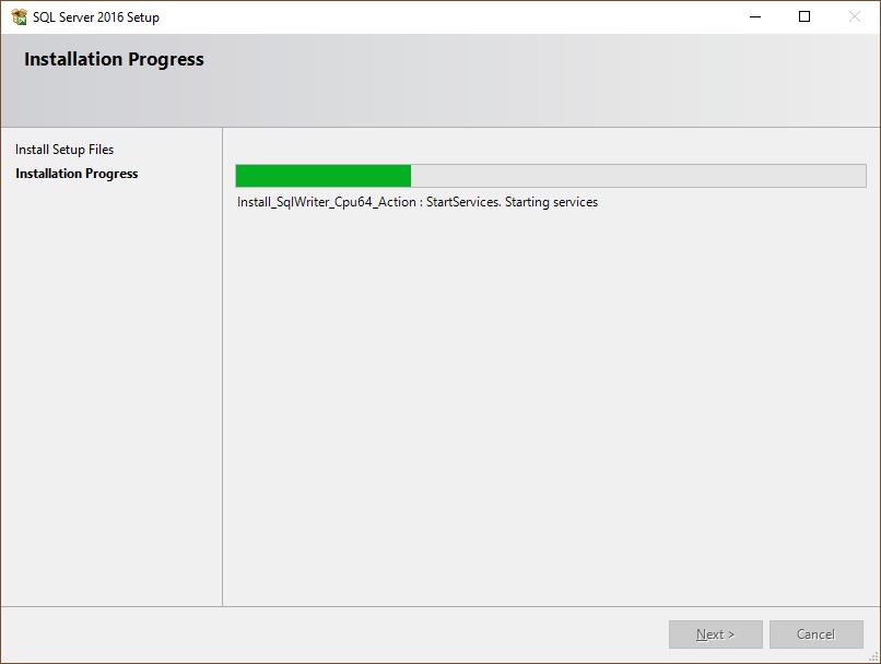 SQL Server installation progress